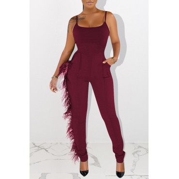 Lovely Trendy Tassel Design Wine Red One-piece Jumpsuit