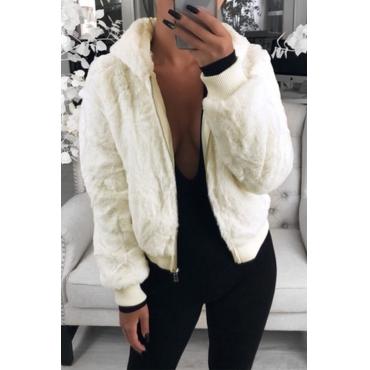Lovely Casual Hooded Collar White Coat
