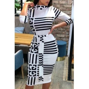 Lovely Work Turtleneck Letter Printed White Knee Length Dress