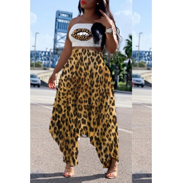 Lovely Trensy Leopard Printed Two-piece Pants Set