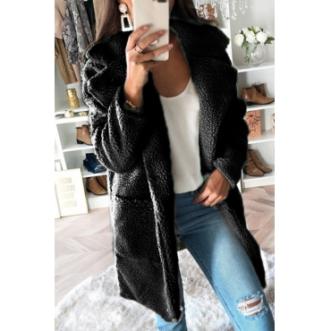 Lovely Trendy Pockets Design Black Coat