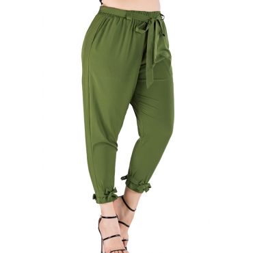 Lovely Casual Lace-up Army Green Plus Size Pants