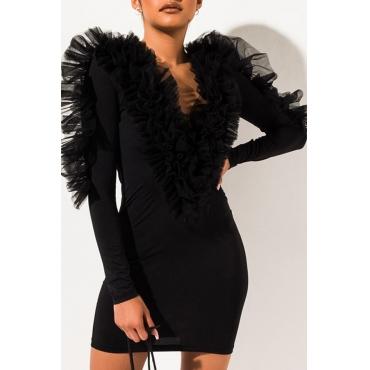 Lovely Casual V Neck Patchwork Black Mini Dress