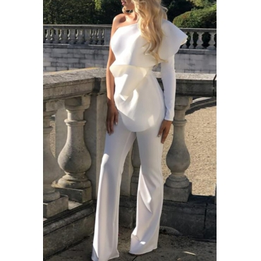 Lovely Trendy One Shoulder Flounce Design White One-piece Jumpsuit