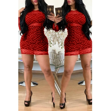 Lovely Trendy Printed Red Mini Dress