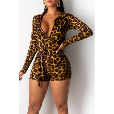 Lovely Casual Deep V Neck Leopard Printed Brown One-piece Romper