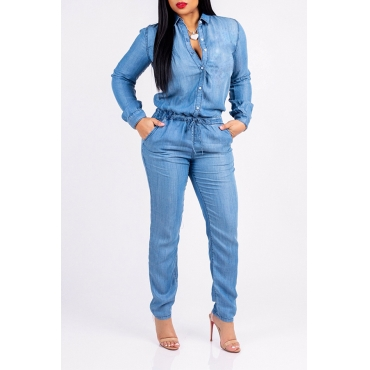 Lovely Trendy Drawstring Blue One-piece Jumpsuit
