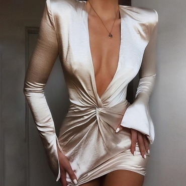 Lovely Party Deep V Neck Champagne Mini Prom Dress