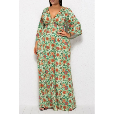 Lovely Casual V Neck Floral Printed Deep Green Ankle Length Plus Size Dress