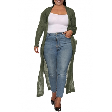 Lovely Casual Pocket Patched Army Green Plus Size Coat