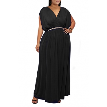 Lovely Casual V Neck Sleeveless Black Ankle Length Plus Size Dress(Without Belt)