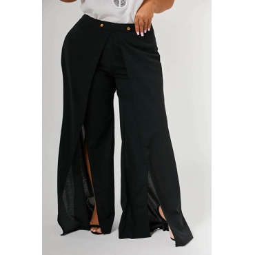Lovely Casual Side Slit Black Plus Size Pants