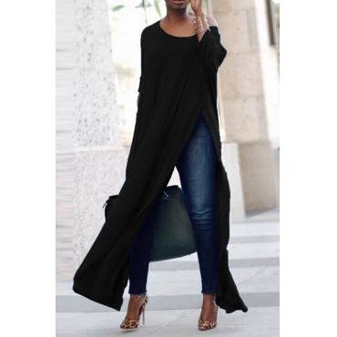 Lovely Leisure Side Slit Black Blouse