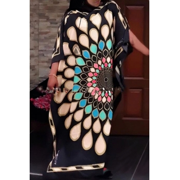 Lovely Casual Printed Black Floor Length Plus Size Dress