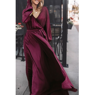 Lovely Vintage V Neck Puff Sleeves Wine Red Chiffon Ankle Length Dress
