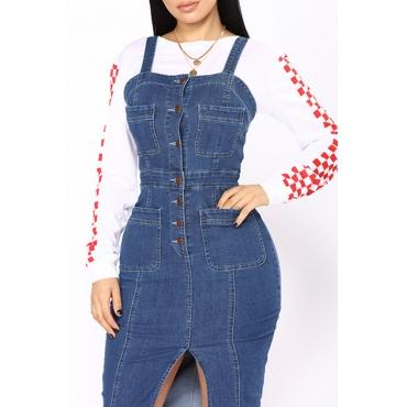 Lovely Casual Buttons Design Blue Knee Length Dress