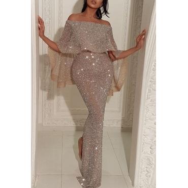 Lovely Party Flounce Design Silver Floor Length Evening Dress