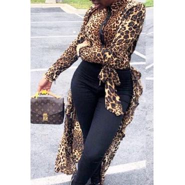 Lovely Casual Leopard Print Asymmetrical Blouse
