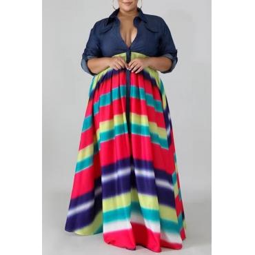 Lovely Casual Turndown Collar Printed Blue Floor Length Plus Size Dress