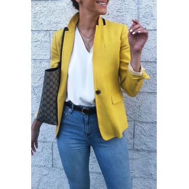 Lovely One-button Yellow Blazer