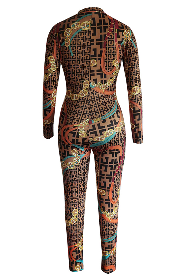 Lovely Trendy Printed Brown One-piece Jumpsuit
