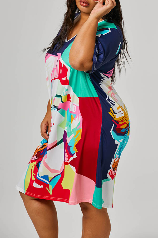 Lovely Casual Girl Printed Multicolor Plus Size Mini Dress