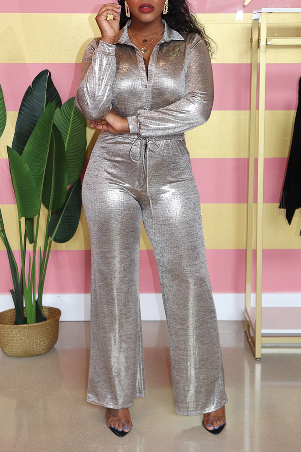 Lovely Casual Buttons Decorative Silver One-piece Jumpsuit
