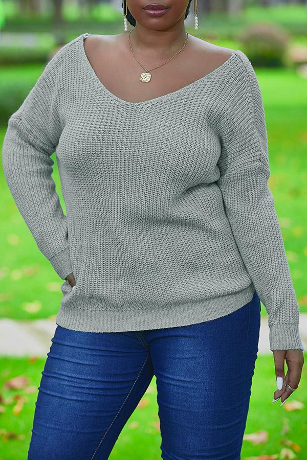 Lovely Trendy Backless Cross-over Design Grey Sweater