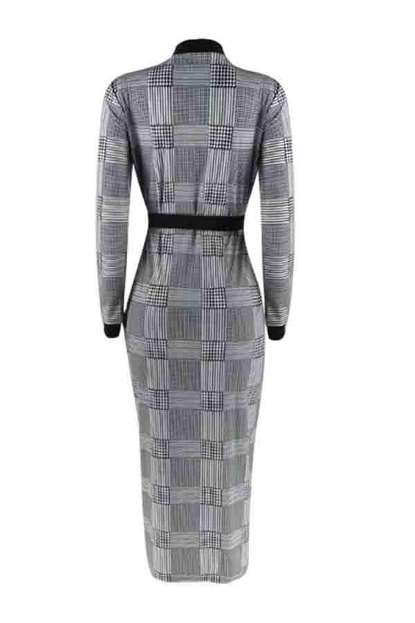 Lovely Casual Plaid Printed Black And White Ankle Length Dress