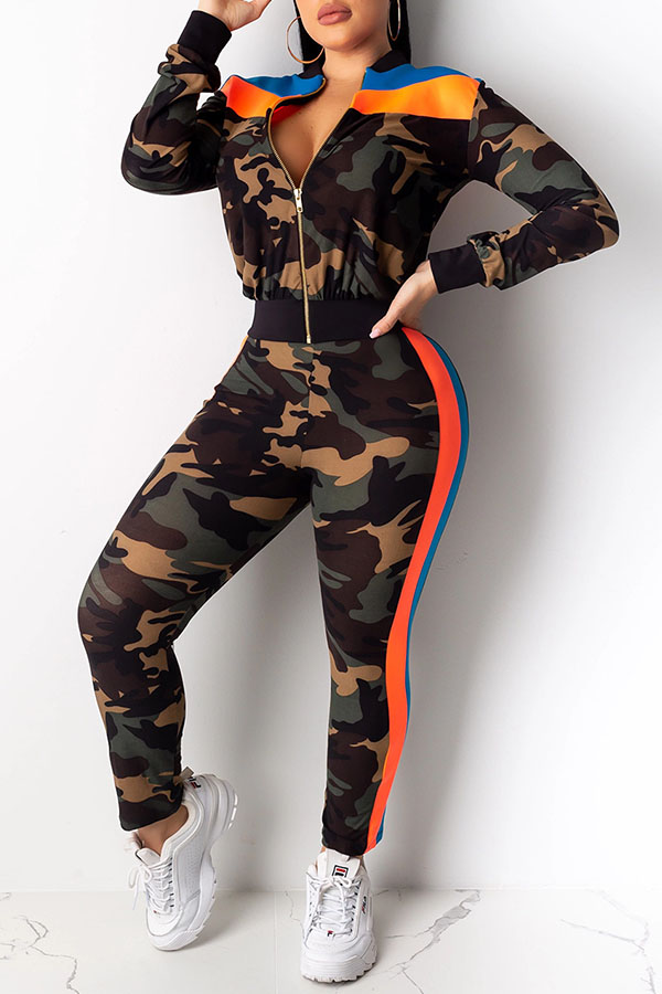 Lovely Casual Mandarin Collar Camouflage Printed Army Green Two-piece Pants Set