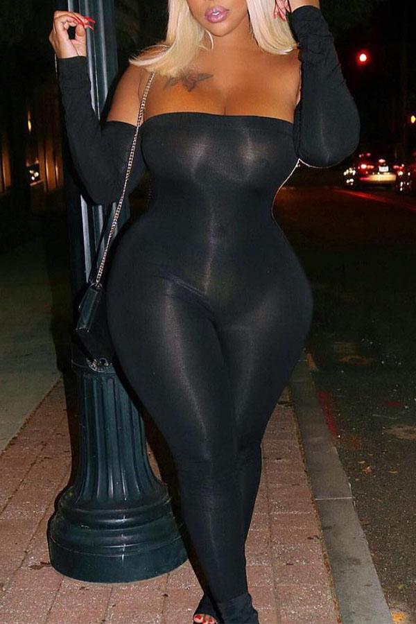 Lovely Sexy Dew Shoulder Black One-piece Jumpsuit