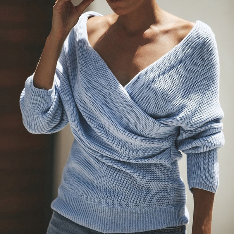 Lovely Casual Cross-over Design Baby Blue Sweater