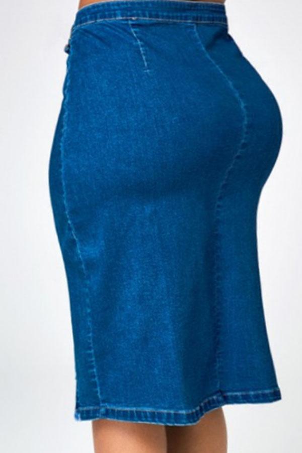 Lovely Casual Slit Deep Blue Plus Size Skirt