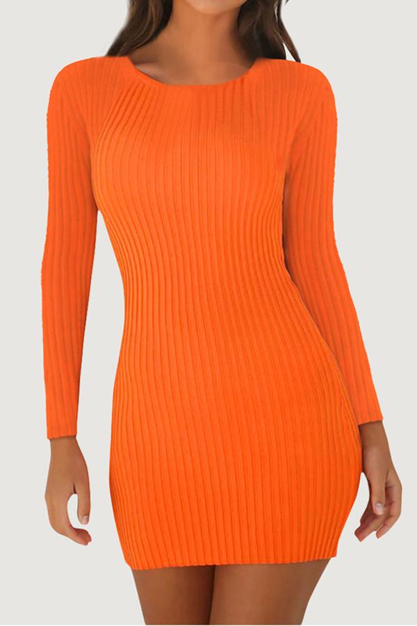 Lovely Casual Skinny Orange Mini Dress