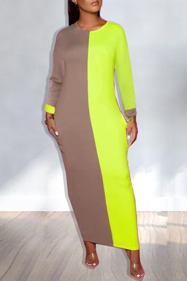Lovely Leisure Patchwork Green Ankle Length T-shirt Dress