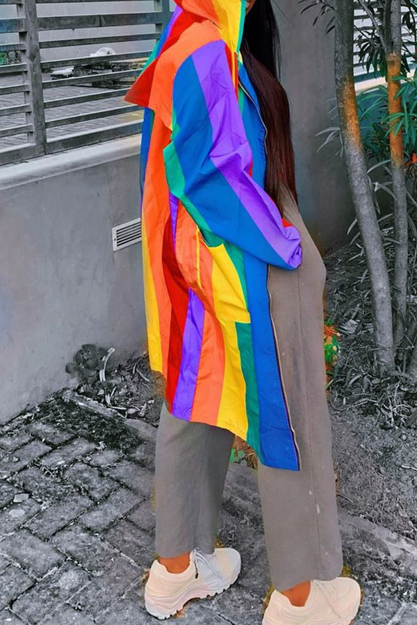 Lovely Casual Color-lump Patchwork Multicolor Jacket