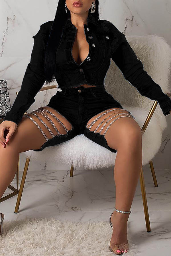 Lovely Leisure Turndown Collar Hollow-out Black Two-piece Shorts Set