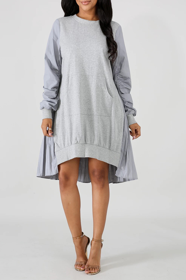 Lovely Trendy Asymmetrical Patchwork Grey Knee Length Dress