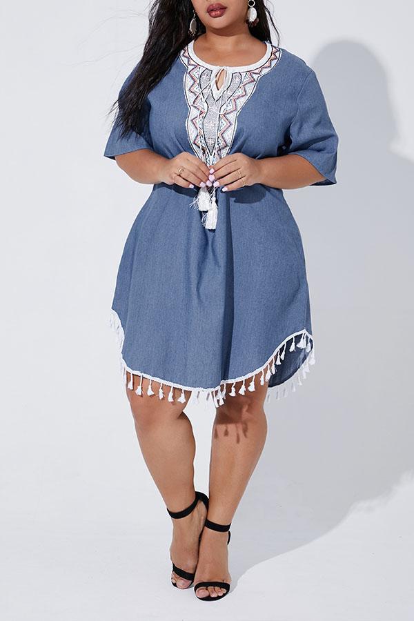Lovely Casual Tassel Design Blue Plus Size Mini Dress