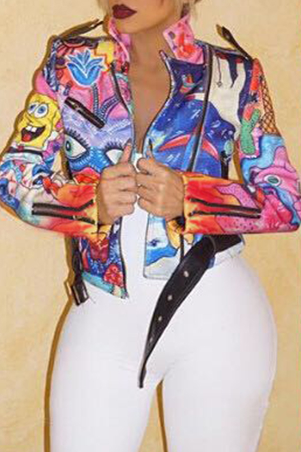 Lovely Casual Printed Multicolor Jacket(Batch Print)