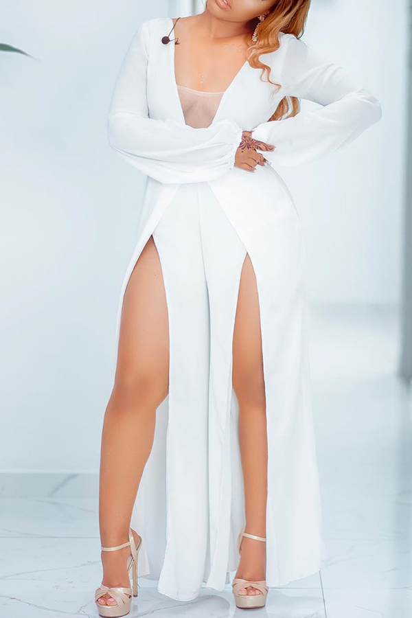 Lovely Sexy Side High Slit White One-piece Jumpsuit