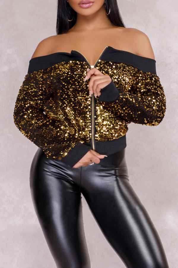 Lovely Casual Sequined Gold Coat