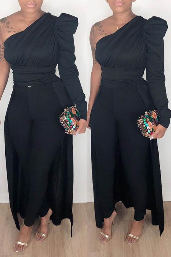 Lovely Work One Shoulder Black Blouse