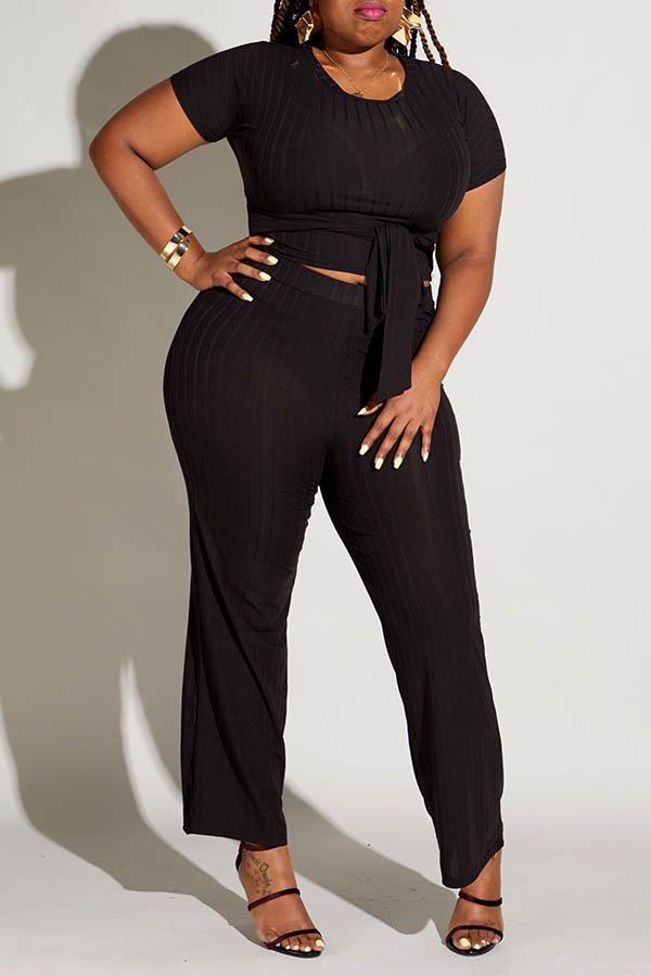 Lovely Casual Knot Design Black Plus Size Two-piece Pants Set