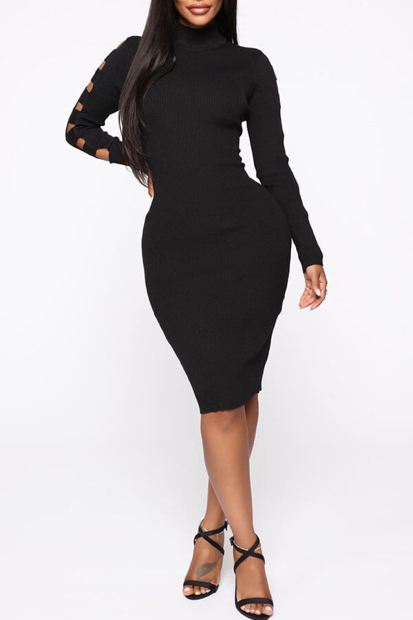 Lovely Trendy Hollow-out Black Knee Length Dress