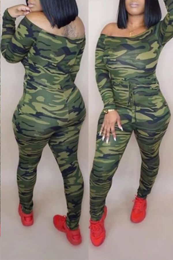 Lovely Casual Camouflage Printed Army Green One-piece Jumpsuit