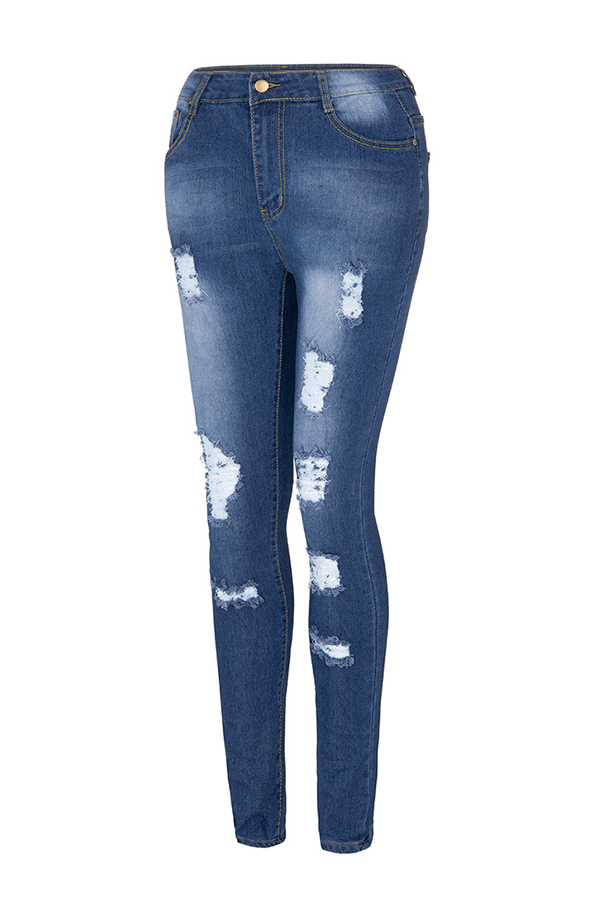 Lovely Leisure Broken Holes Blue Jeans