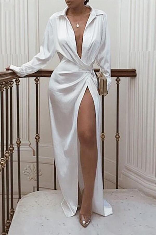 Lovely Sexy Turndown Collar White Floor Length Prom Dress