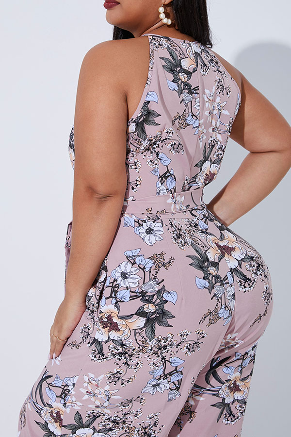 Lovely Casual Printed Dusty Pink Plus Size One-piece Jumpsuit