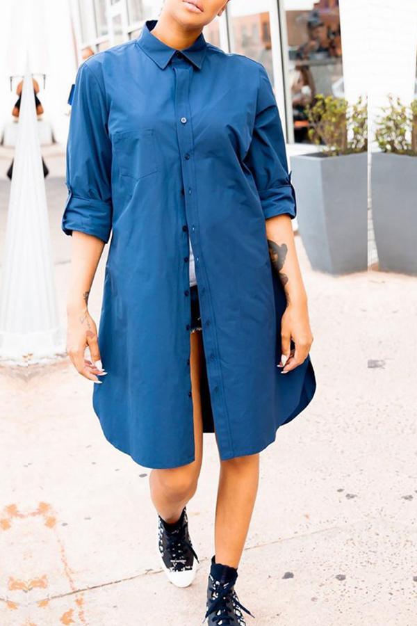 Lovely Leisure Turndown Collar Blue Blouse